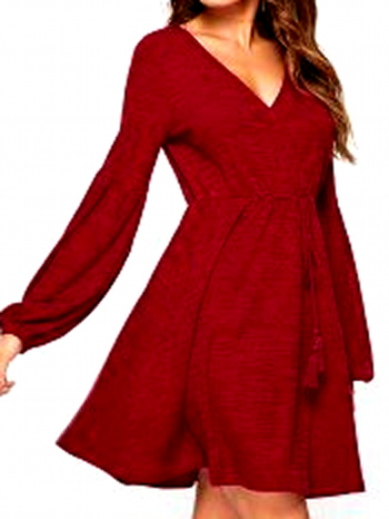 NWT Balloon Sleeve A Line Knit Sweater Dress Red Wine S