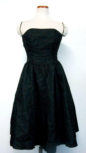 Women's Thin-Strap Ruffle Dress Black Size S
