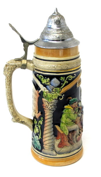 Authentic Large Beer Stein with Lid made in West Germany