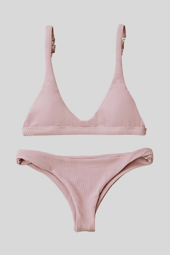 Low Waisted Padded Scoop Bikini Set - Pink Size L