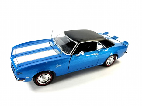 1968 Chevrolet Camaro Z/28 Coupe Blue & White Stripes With Black Top 1:18 Scale Diecast