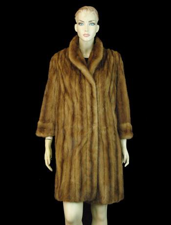 Women's Designer 3/4 Length Chestnut Brown Mink Coat - Size M/L - Cold Storage Value $4,500.00