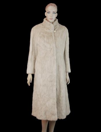 Women's Full Length Beige Color Mink Coat - Size S - $4,750.00