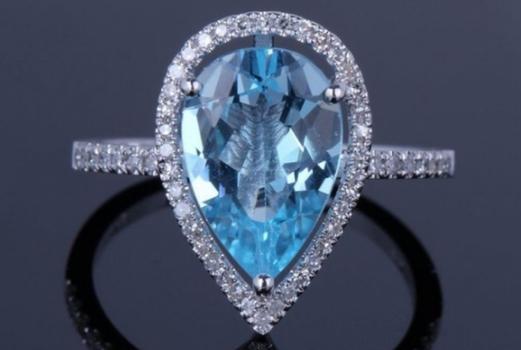 4.00 CTTW Genuine Pear Cut Blue Topaz Ring Retail $561.58