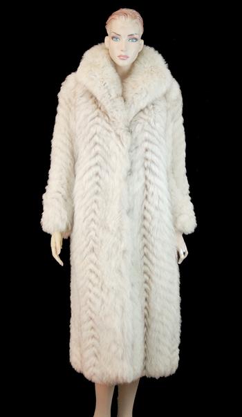 Women's Full Length Chevron Design Fox Coat - Size S - Cold Storage Value $5,550.00