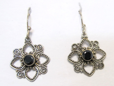 Vintage Sterling Silver and Black Agate Earrings