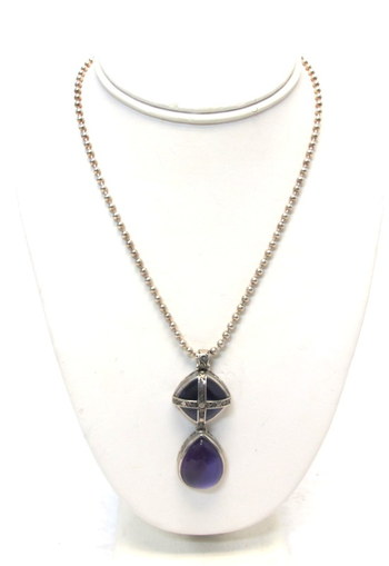 Vintage Sterling Silver Amethyst Agate Pendant and Chain