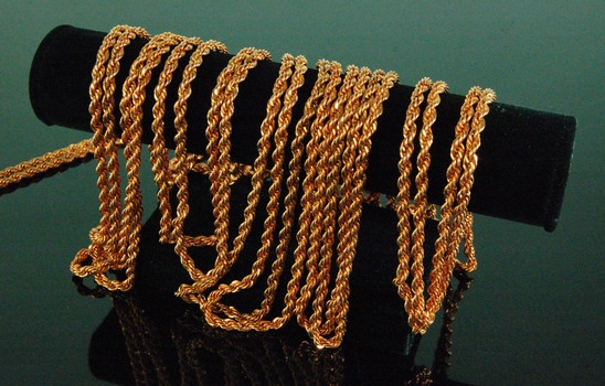 """CHAIN - JEWELERY STORE FINDINGS - 60"""" inchesh of Thick Braided Rope Copper/RoseGold Chain - Uncut"""