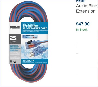 25 Feet Arctic Blue™ All-Weather TPE-Rubber Lighted End Extension Cords With Primelok® & Primelight®