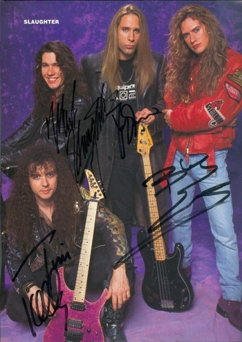 Slaughter Rock Band All 4 Members Signed Autographed 8x10 Photo w/coa $400 Retail