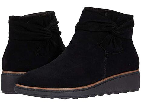CLARKS - Women's Sharon Salon Black Suede Ankle Boots - Size 10 - $129.00 Retail