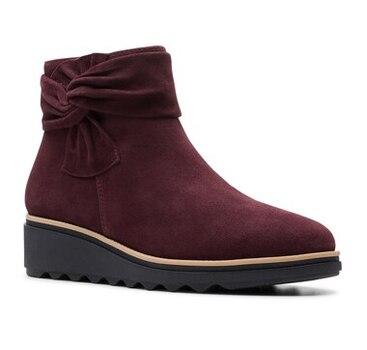 CLARKS - Women's Sharon Salon Burgundy Suede Ankle Boots - Size 8 - $129.00 Retail