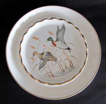 Vintage Decorative Plate/Change Dish/ Jewelry Dish of Flying Ducks