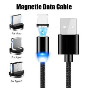 3-in-1 Magnetic Charging Cable, USB to Type-C / Micro USB/ Lightning Cable with LED Indicator BLACK