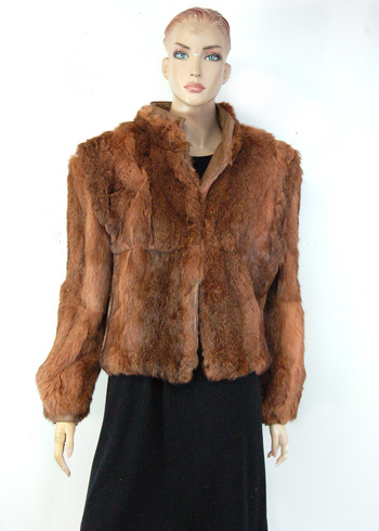 Women's Vintage Leather and Dyed Rabbit Jacket - Size M/L