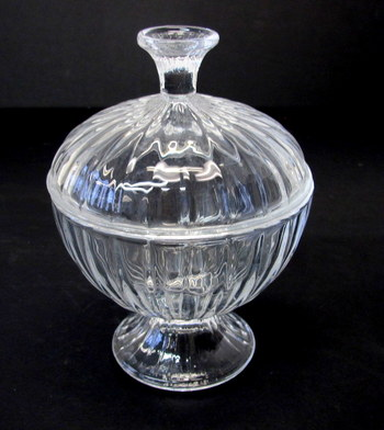Vintage Molded Crystal Covered Candy Dish