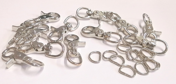 CLASPS - 60MM NICKEL PLATED SWIVEL CLASPS WITH 20MM DRINGS -12 PAIRS