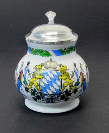 Vintage Porcelain Beer Stein with Lid Depicting Bavarian Emblem