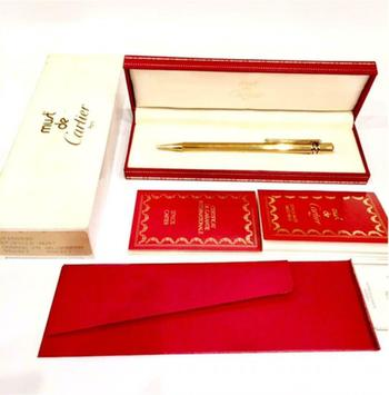Cartier Gold Plated Steel Must de Cartier Trinity Ballpoint Pen Retail $580.00