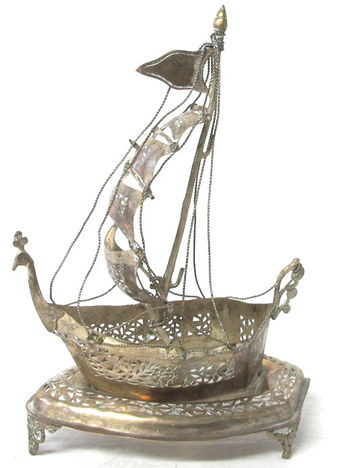 Vintage Silver Plated Caravel Ship Decoration