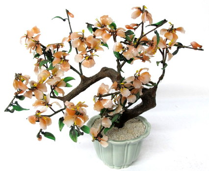 Decorative Bonsai Jade Like Tree with Glass Flowers and Leaves