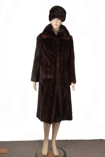 Full Length Dark Mahogony Color Mink Coat with Matching Hat - Size S/M - $5,500.00 Cold Storage Value