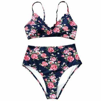 Flora Print High Waist Bikini Women Vneck Backless Two Piece Swimwear Beach - Size L
