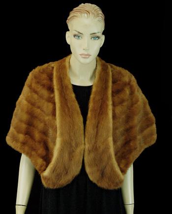 Women's Custom Designed Mink Stole with Wrap Around Collar  - Size M-L - Cold Storage Value $3,000.00