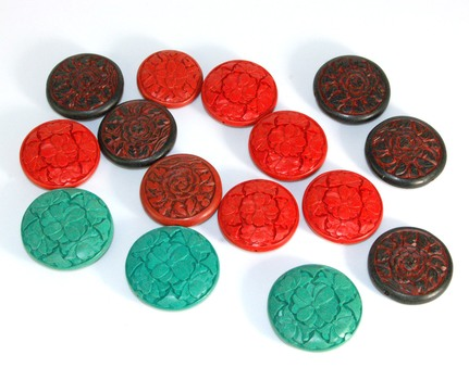 WOOD BEADS FOR JEWELRY - HAND CARVED AND PAINTED JAPANESE BEADS