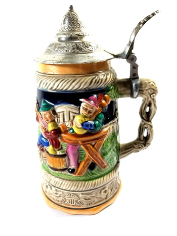 Vintage Hand Made & Painted Japan Musical Beer Stein With Lid