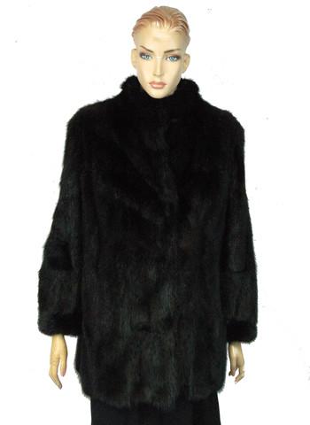 Mink Jacket - Women's Designer Solid Black Female Ranched Mink - Size S/M - $3,999.00 Cold Storage Value