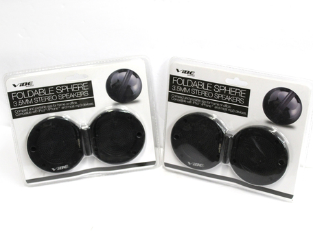 2 Folding Portable Speakers - Black - BY VIBE SOUND