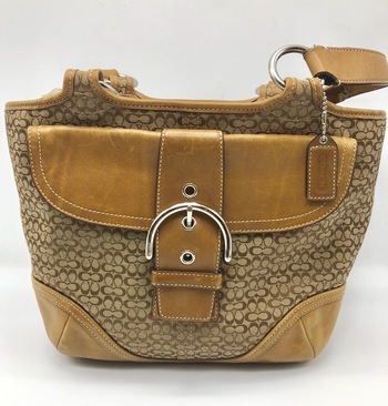 Coach signature tote bag canvas / leather /7081/ beige / brown