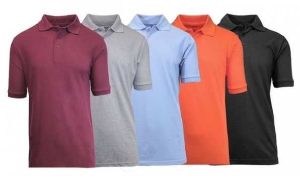 5 Galaxy By Harvic Men's Short-Sleeve Polo Shirts, Size: Lge