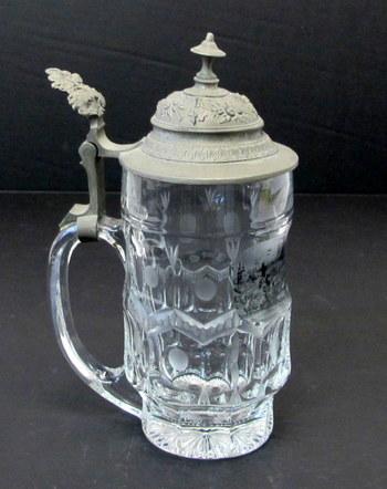 Vintage Crystal Beer Stein/Tankard with Pewter Lid