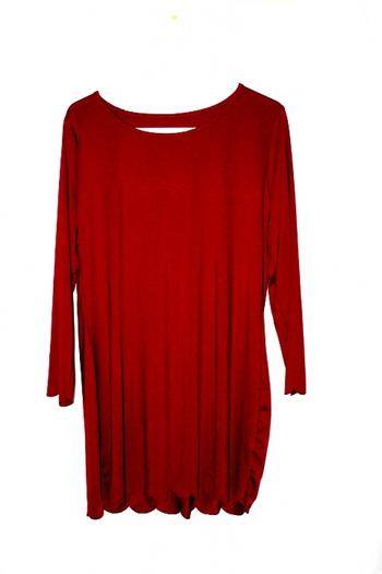 Ladies Burgundy Long Sleeve Dress XL
