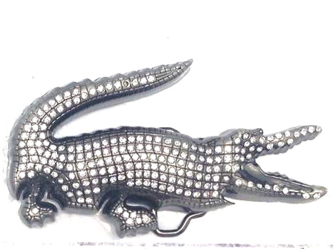 Alligator With Rhinestones Metal Belt Buckle