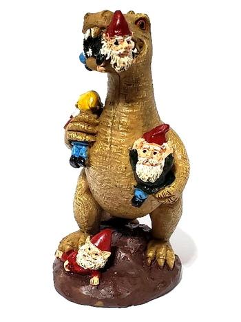 Funny Dinosaur Eating Gnomes Statue Garden Art Resin Figurine