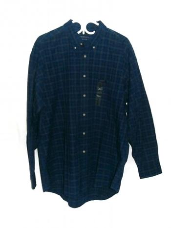 Fridays by Cluett Mens Shirt Blue Plaid Heavy Cotton Button Front L New