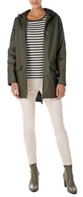 Pink Tartan Women's Hooded Rain Coat, Olive, Size Large, Retail: $198.00
