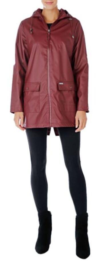 Pink Tartan Women's Hooded Rain Coat, Burgundy, Size Large, Retail: $198.00