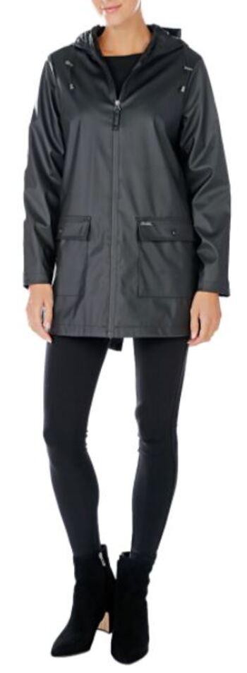 Pink Tartan Women's Hooded Rain Coat, Black, Size Small, Retail: $198.00