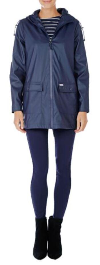 Pink Tartan Women's Hooded Rain Coat, Navy, Size Small, Retail: $198.00