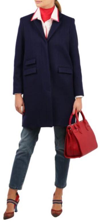 Pink Tartan Newport Coat, Navy, Size 4, Retail: $998.00