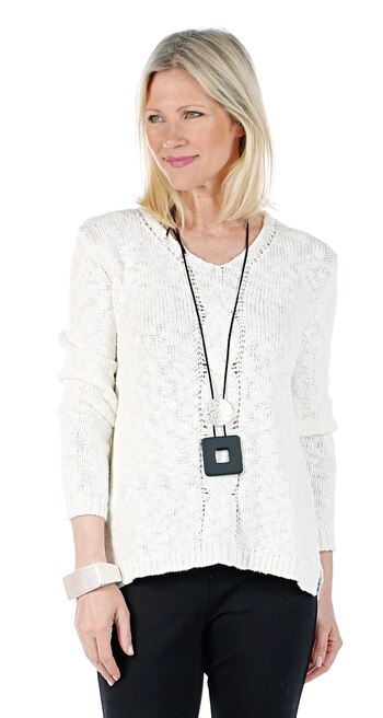 Marla Wynne Women's V-Neck Cable Front Sweater, Canvas, Size L, Retail: $97.42