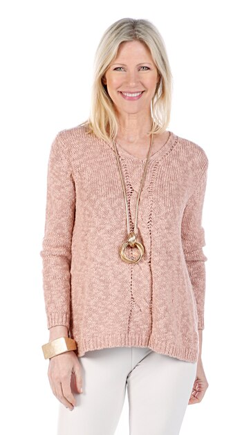 Marla Wynne Women's V-Neck Cable Front Sweater, Blush, Size L, Retail: $97.42