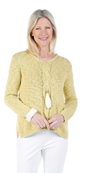 Marla Wynne Women's V-Neck Cable Front Sweater, Straw, Size S, Retail: $97.42