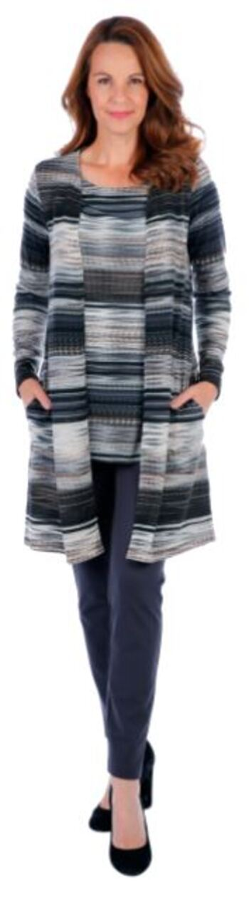 Mr. Max Women's Sweater Knit Duster with Pockets, Grey, Size S, Retail: $31.00