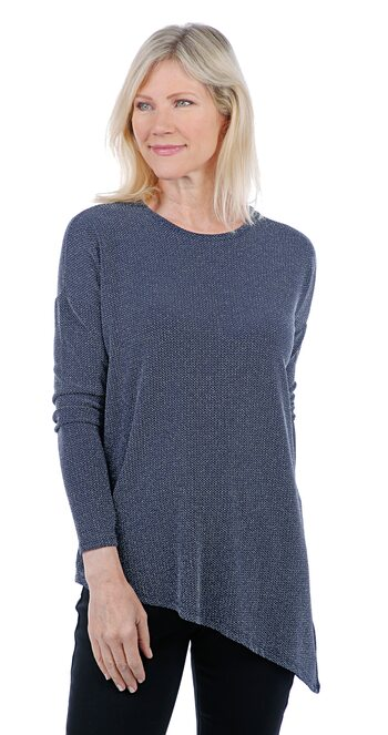 Diane Gilman Women's Angled Hem Bateau Neck Top, Navy, Size XS, Retail: $27.34