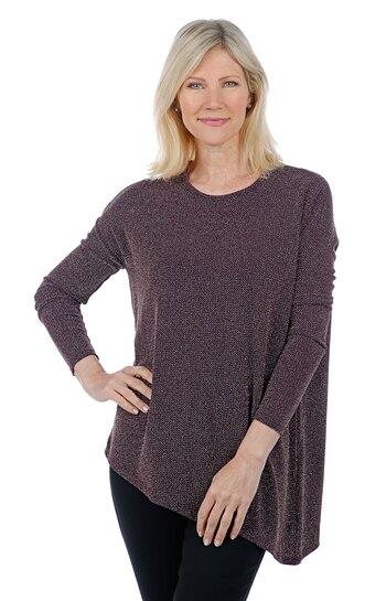 Diane Gilman Women's Angled Hem Bateau Neck Top, Eggplant, Size 1X, Retail: $27.34